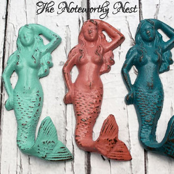 Mermaid hook // Cast Iron mermaid hook // girls bedroom decor //  bathroom decor // nautical // beach decor // beach theme