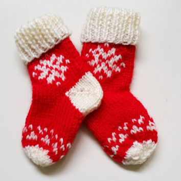 Baby Christmas Socks // Red & Cream // Baby Socks // Christmas Snowflakes