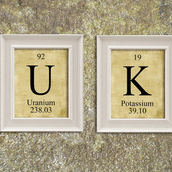 UK United Kingdom Periodic Table Elements Print Art Illustration Printable Instant Download Poster UPT009burlap