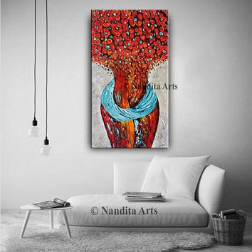 "48"" Abstract figurative painting on canvas purple red blue color light thick paint huge wall painting floral art interior design by Nandita"