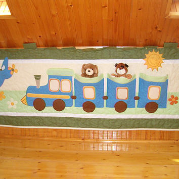 Quilted Wall Hanging, Textile Fiber Art, Creative Toy Storage, Boy Bedroom Wall Decor