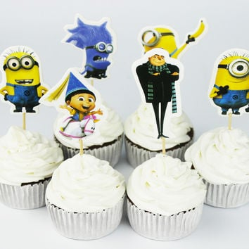 24pcs Despicable Me Gru minion Cupcake Topper Picks,birthday/wedding party decorations,kids evnent party favors,Party decoration
