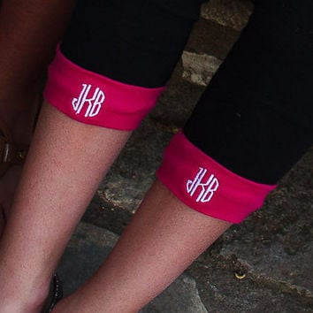 Monogrammed Legging Cuffs-Perfect for your Initials or for your Sorority Letters