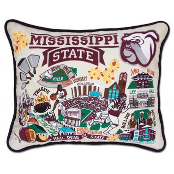 Mississippi State University Embroidered Pillow