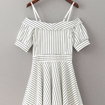 White Short Sleeve Fold Over Adjustable Strap Striped A-Line Dress