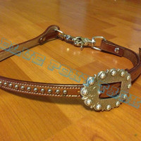 Wither Strap - Horse Tack - Medium oil with antique berry buckle and dots