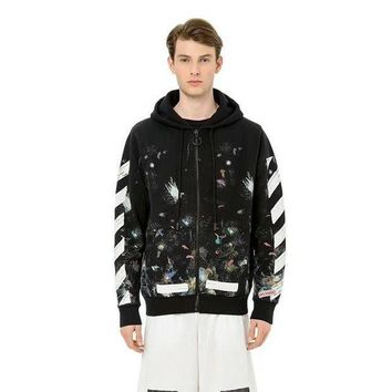 PEAPONU3 Off White Star Fireworks Inkjet Stripes Doodle Cardigan Hooded Sweater Round neck sweater Hooded sweater