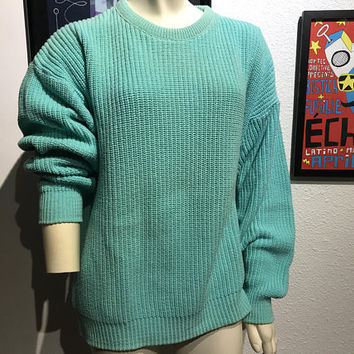 Vtg Cyan Blue Green Knit Boyfriend Sweater / BASS SINCE 1876 / Bright Color Block Oversized Sweater / Unisex Cable Knit Crew Neck Pullover