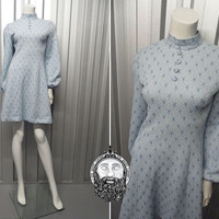 Vintage 60s Mod Dress Pastel Blue Silver Lurex Star Print Balloon Sleeves Shift Dress 1960's Mini Dress High Neck Mod Clothing Pale Blue