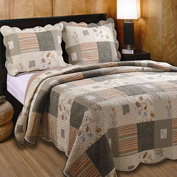 Full / Queen 100% Cotton Quilt Set w/ 2 Shams Southwest Wildflowers
