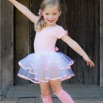 Ruffle Butts Spring Dance Short Sleeve Pink & White Tutu Leotard