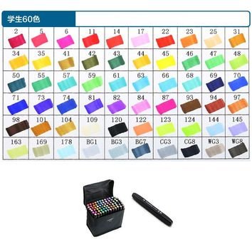 Touch five 60 Colors Art Marker Set Oily Alcoholic Dual Headed Artist Sketch Copic Markers Pen For Graphic student design