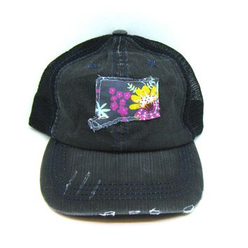 Black Distressed Trucker Hat - Modern Floral Applique - Connecticut - All United States Available