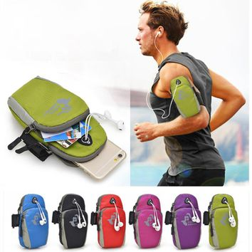 """6"""" Universal Running Riding Nylon Arm Band Case for iphone X 7 Plus iphone 8 plus 6 6S for Samsung Galaxy S8 S7 Edge Sport Pouch"""