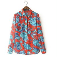 Women red floral print blouses vintage turn down collar long sleeve office work shirts casual loose tops LT231