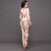 Women sexy Deep V ncek lace covered sequined jumpsuit bodysuit playsuit catsuit Rompers lady casual work office weare beach wear