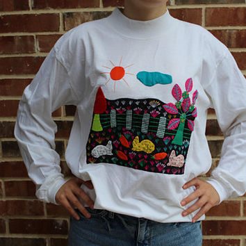 Unique 90s 1990 vintage one of a kind hand patch work embroidered bunny rabbit garden long sleeve shirt