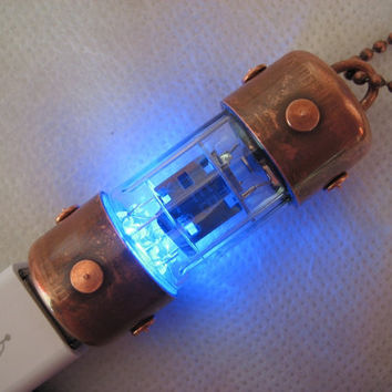 16GB BLUE Covered Pentode USB flash drive. Industrial/Steampunk