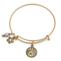 Expandable Gold Tone Flower Charm Fashion Bangle Bracelet