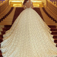Royal Train Luxuriously Beaded Crystals Sleeveless Wedding Dress