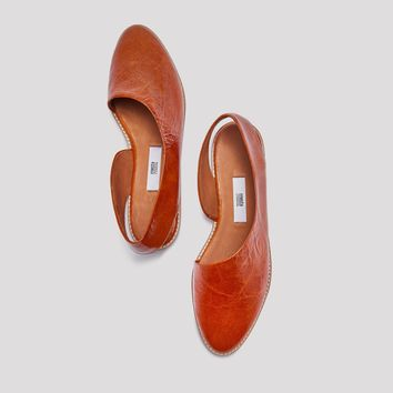 GALA WALNUT LEATHER FLATS