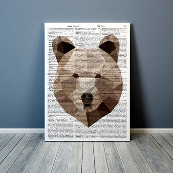Colorful decor Geometric bear poster Grizzly print Animal art TO306