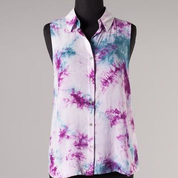 Tie Dye Button Up Tank