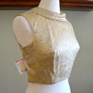 Vintage Gold Brocade Crop Top, Super Luxe 1960s Top with Button Down Back, New Old Stock With Tags from Macy's, Size 12