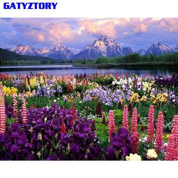 GATYZTORY Frameless Flower DIY Painting By Numbers Landscape Modern Home Wall Art Decor Handpainted Oil Painting For Unique Gift