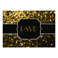Beautiful Gold sparkles Sweet 16 RSVP horizontal 3.5