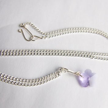 Lilac necklace, wire wrapped necklace, Flower necklace, UK Jewellery