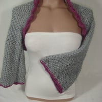Hand knitted crocheted (Light Gray, Purple) short sleeve bolero shrug by Arzu's Style