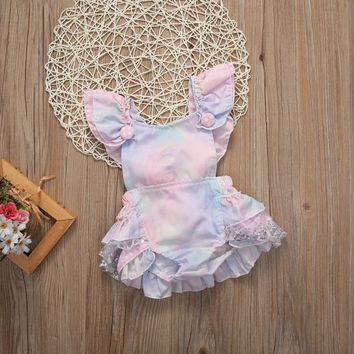 Cute Floral Baby Romper 2017 Ruffles Lace Jumpsuit Newborn Baby Girls Bow Sunsuit Outfits Children Clothes 0-24M