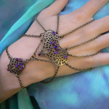 hand flower Moroccan slave bracelet spider chain design Indie belly dancer boho Tribal fusion hand chain goddess gothic gypsy style