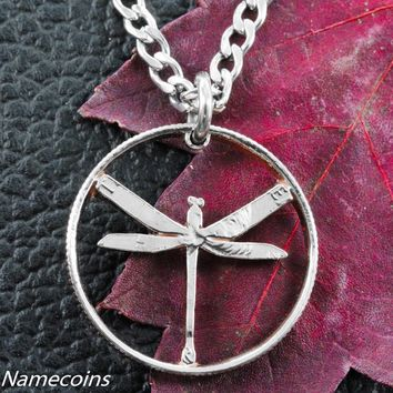 Dragonfly Necklace, Dainty Cut Out Quarter, hand cut coin