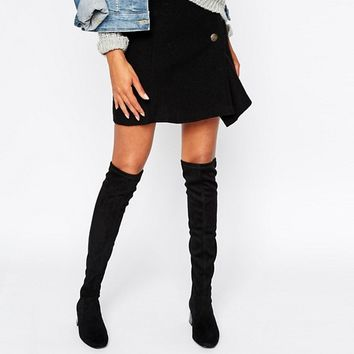 Mango Suedette Over the Knee Heeled Boot at asos.com