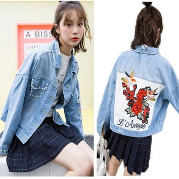 Vintage Fashion Beading Wash Water Denim Jacket Embroidery Flower Letter Loose Back BF Denim Coat Ripped Hole Outerwear Female