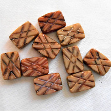 Lot of ten rectangular Opaque Brown Picasso Carved Czech glass beads, 12mm x 8mm, rectangle beads, carved both sides C53101