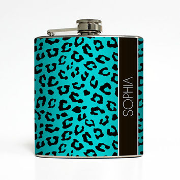 Cheetah Animal Print Custom Color Personalized Name Flask Monogram 21 Bachelorette Gifts - Stainless Steel 6 oz Liquor Hip Flask LC-1024