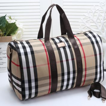 burberry Women Leather Multicolor Luggage Travel Bags Tote Handbag