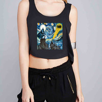Batman invades Van Gogh s for Crop Tank Girls S, M, L, XL, XXL **