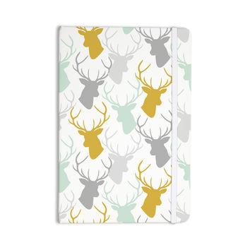 "Pellerina Design ""Scattered Deer White"" Gold Green Everything Notebook"