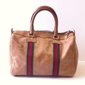 Vintage Gucci Distressed Leather Boston Bag