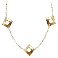 "CHG-202-RM-18"" 18K Gold Overlay Necklace With Rainbow Moonstone"