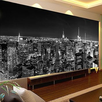 Custom Photo Wallpaper Mural Night View New York City Black And White Building Wall Paper Modern Living Room Mural Wallpaper