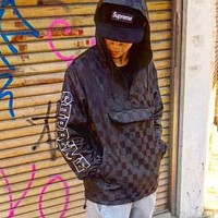 Supreme Fashion Casual Tartan Loose Hooded Jacket Coat Windbreaker