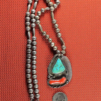 Navajo Turquoise Coral Necklace with Bench Beads