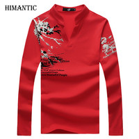 Men Print Shirt Men Long sleeve V-Neck Casual Shirts Men's Cotton Shirt Clothing