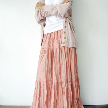 NO.5  Dusty Peach Cotton, Hippie Gypsy Boho Tiered Long Peasant Skirt