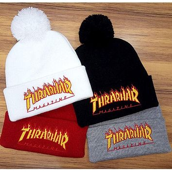 DCCKW2M Thrarhar Woman Men Fashion Flame Embroidery Beanies Winter Knit Hat Cap